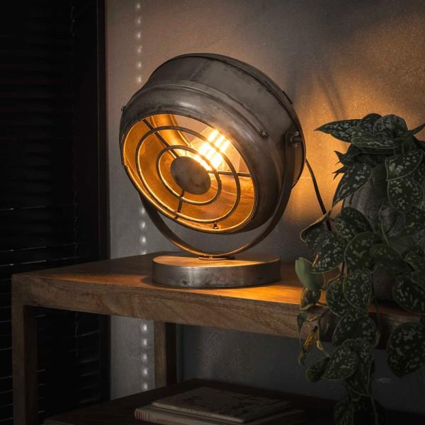 Tischlampe Beam H 33 cm Metall altsilber schwenkbar Leuchte Tischleuchte Lampe