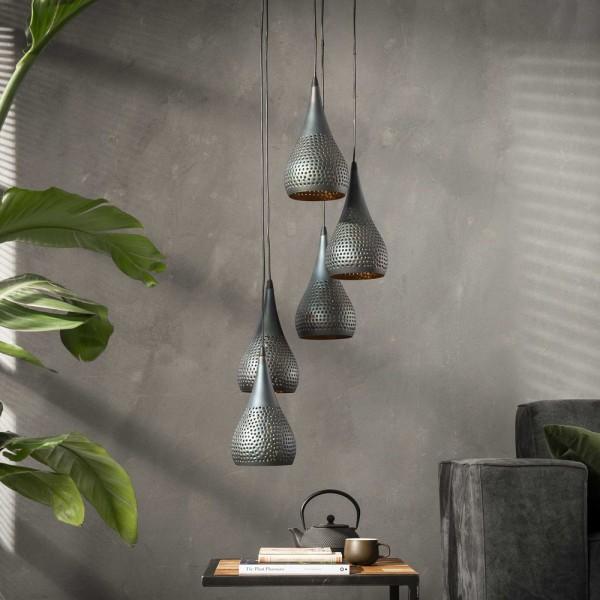 Hängelampe Stufenlocher 5 flmg Metall schwarz braun Leuchte Deckenleuchte Lampe