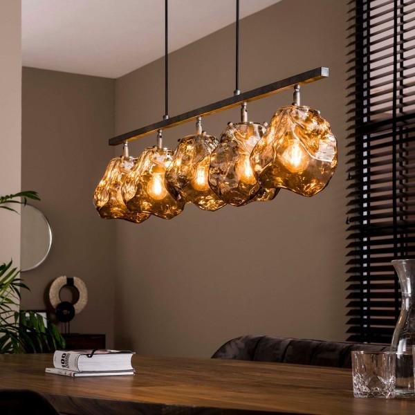 Hängelampe Stone 5L Ø 18 cm Glas verchromt Lampe Deckenlampe Hängeleuchte
