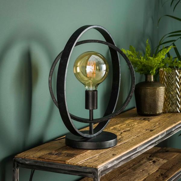 Tischlampe 1L ROUND H 43 cm Metall kohlegrau Tischleuchte Lampe Leuchte