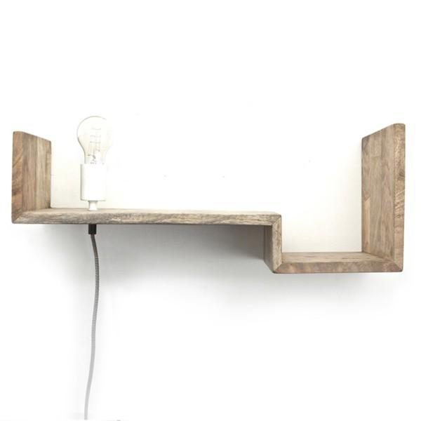 Wandleuchte TOP SHELVE Regal 75 cm Massivholz Board Wandlampe Leuchte Lampe