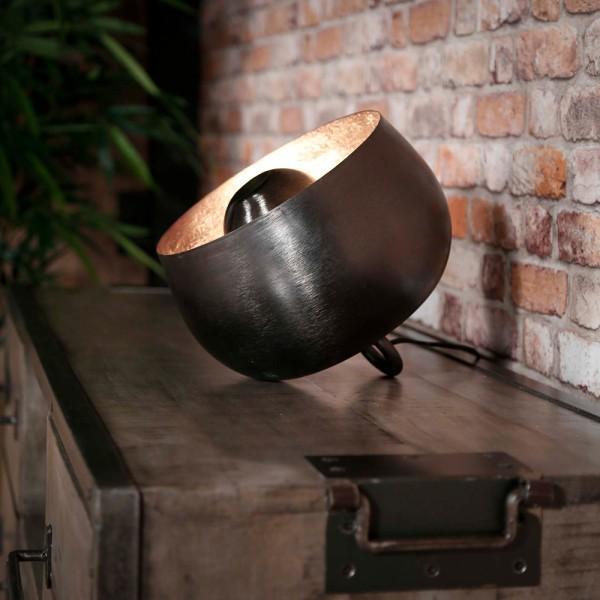 Tischlampe Ø 28 cm Korb Metall schwarz nickel Tischleuchte Lampe Leuchte