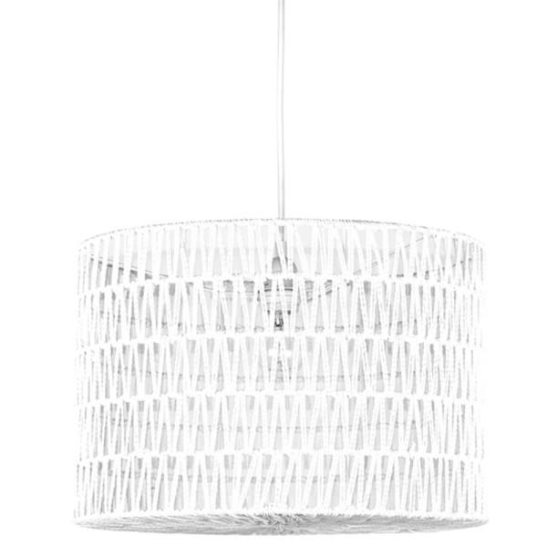 Hängelampe STRIPE Ø 45 cm Baumwolle weiß Hängeleuchte Lampe Deckenlampe