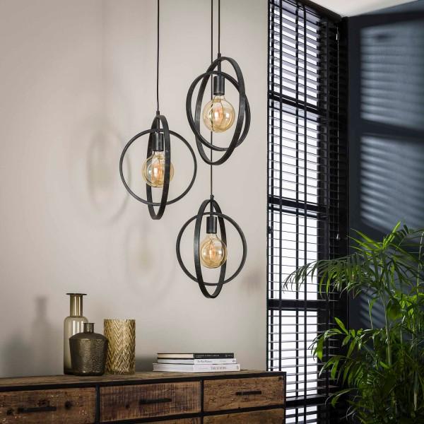 Hängelampe ROUND gestuft 3 flmg Metall kohlegrau Lampe Deckenlampe Hängeleuchte