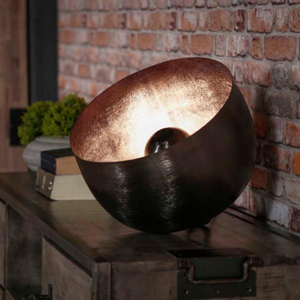 Tischlampe Ø 36 cm Korb Metall schwarz nickel Tischleuchte Lampe Leuchte