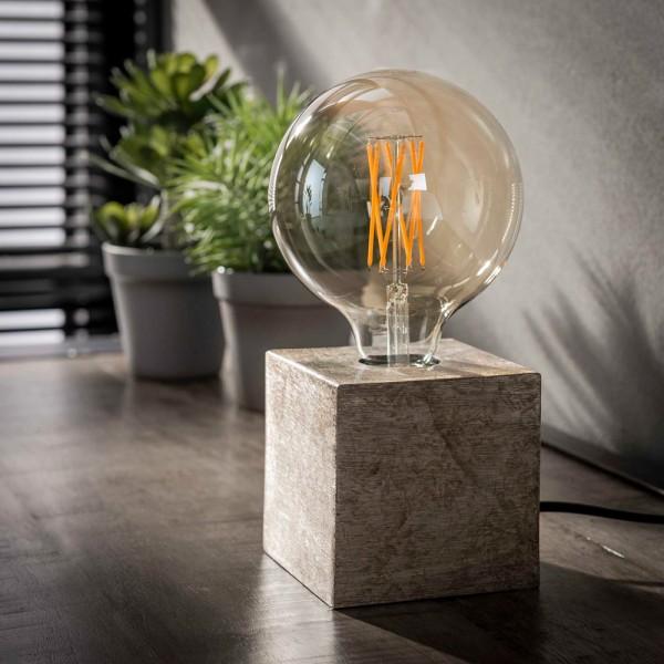 Vintage Tischlampe Block antik nickel H 10 cm Metall E27 Tischleuchte Lampe Blocklampe