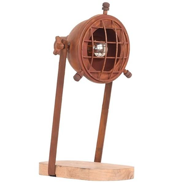 Tischlampe GRID Metall rost Holz Schreibtischlampe Lampe Leuchte Tischleuchte