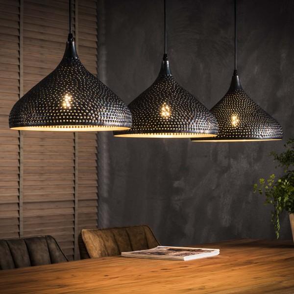 Hängelampe Trichter 3-flammig Schirme schwarz braun Pendellampe Deckenlampe