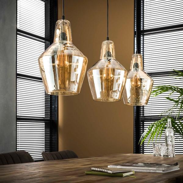 Hängelampe Braunglaskegel 3flmg Glas Deckenleuchte Lampe Hängeleuchte