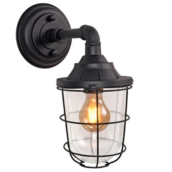 Wandlampe SEAL Metall schwarz Glas Wandleuchte Lampe Leuchte Beleuchtung