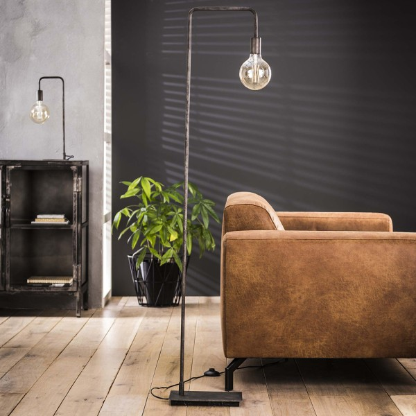 Flurlampe gebogener Rahmen H 150 cm Metall silber Standleuchte Stehlampe Lampe