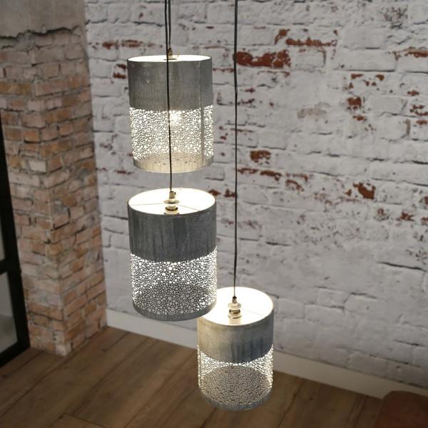 Hängelampe Zylinder Ø 20 cm 3 flammig Metall beton Hängeleuchte Pendelleuchte