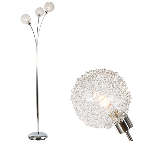 LED Stehleuchte RYDER 3 flammig chrom Standleuchte Leuchte Beleuchtung Lampe