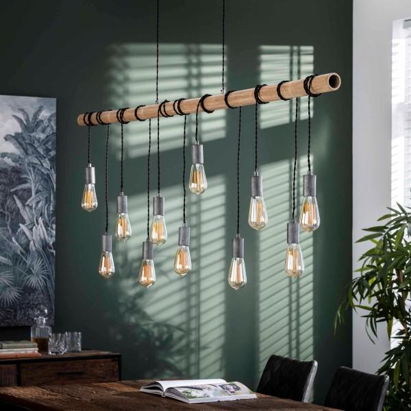 Hängelampe Bambus 11 flmg silber antikfinish Deckenleuchte Lampe Hängeleuchte