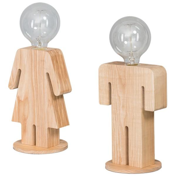 Tischlampe FAMILY MAN oder WOMAN 24 cm Lampe Schreibtischlampe Tischleuchte Holz