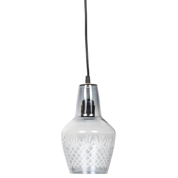 Hängelampe Engrave Ø 15 cm Glas grau Lampe Hängeleuchte Pendelleuchte
