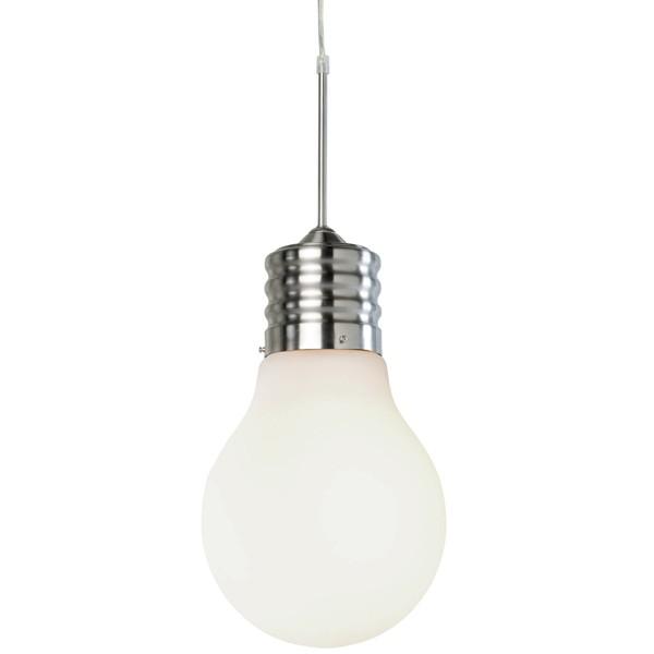 Pendelleuchte LUCE 1 flammig Hängeleuchte Glühbirne Nickel matt weiß