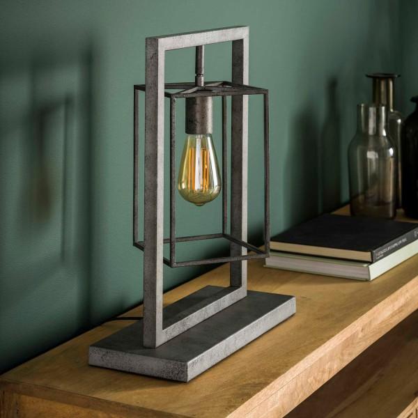 Tischlampe 1L Cubus H 46 cm Metall altsilber Tischleuchte Lampe Leuchte
