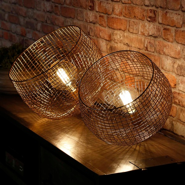 Tischlampe Ø 39 cm Korbdraht Metall goldfarben Tischleuchte Lampe Leuchte