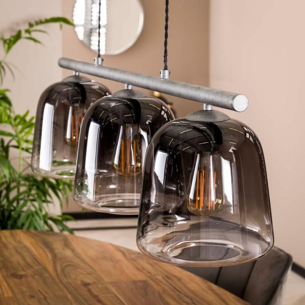 Hängelampe 3L Ø 23 cm grauer Glasschirm altsilber Lampe Deckenlampe Hängeleuchte