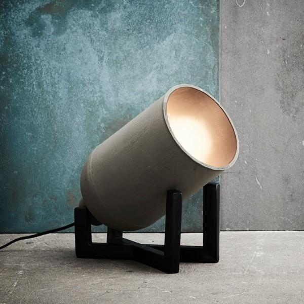 Bodenlampe SOFIA Leuchte Tischlampe Tischleuchte Lampe Metall Beton grau Holz
