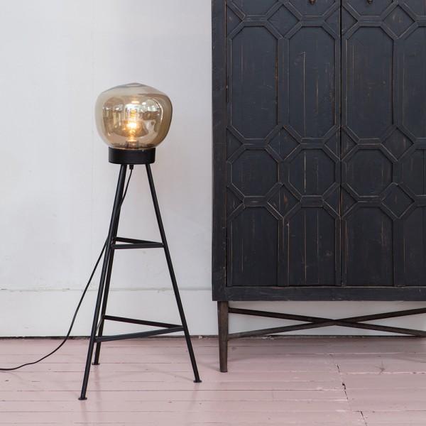 Flurlampe Dome H 84 cm Metall schwarz Glaskuppel Standleuchte Stehlampe Lampe