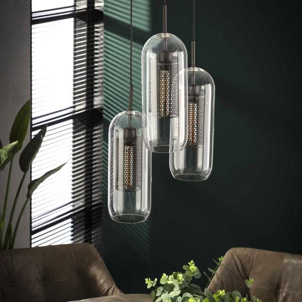 Hängelampe Stufenzylinderglas 3 flmg Ø 15 cm Glas Metall altsilber Deckenleuchte