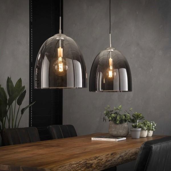 Hängelampe ovales Glas 2 flmg Ø 40 cm Metall nickel Leuchte Deckenleuchte Lampe
