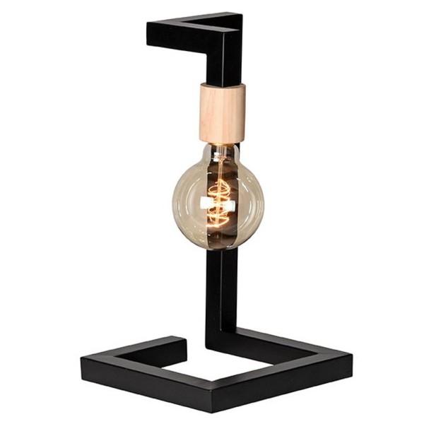 Tischlampe Loco H 38 cm 1 flmg Metall schwarz Holz Tischleuchte Lampe Leuchte