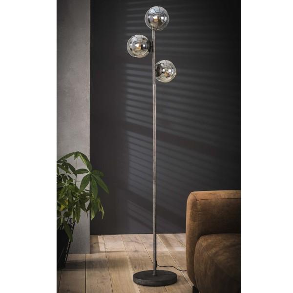 Flurlampe Kugel 3 flmg H 170 cm Metall altsilber Standleuchte Stehlampe Lampe