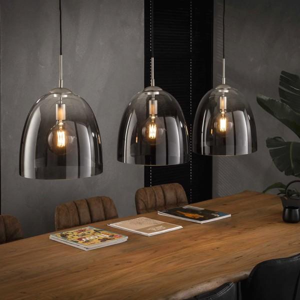 Hängelampe ovales Glas 3 flmg Ø 33 cm Metall nickel Leuchte Deckenleuchte Lampe
