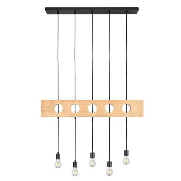 Hängelampe Timber 5 flmg Mangoholz Metall Deckenleuchte Lampe Hängeleuchte