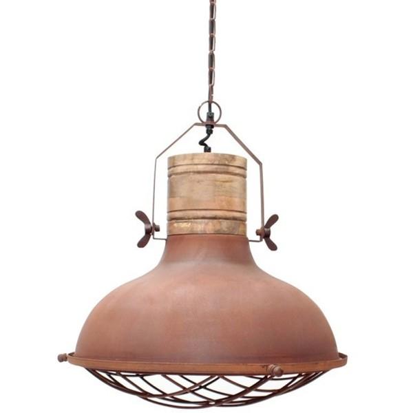 Industrie Hängelampe GRID Ø 34 cm Metall rost Holz Hängeleuchte Leuchte Lampe