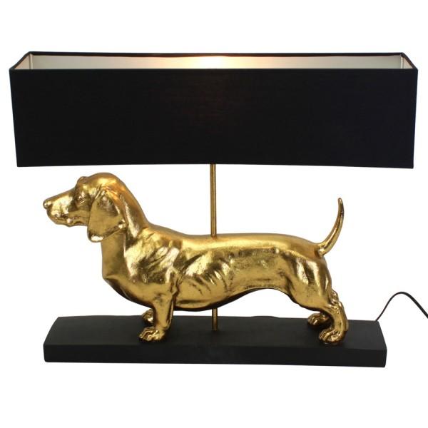 Tischlampe Dackel gold schwarz 48,5 cm hoch Tischleuchte Schirm Lampe Leuchte