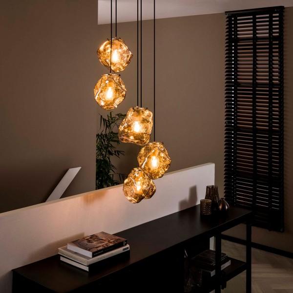 Hängelampe Stone 5L Ø 18 cm stufig Glas verchromt Lampe Deckenlampe Hängeleuchte