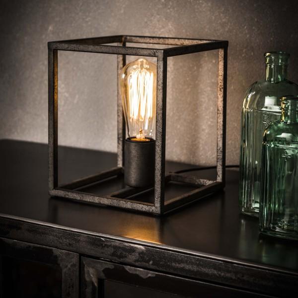 Tischlampe Cubic H 21 cm Metall altsilber Würfel Tischleuchte Lampe Leuchte