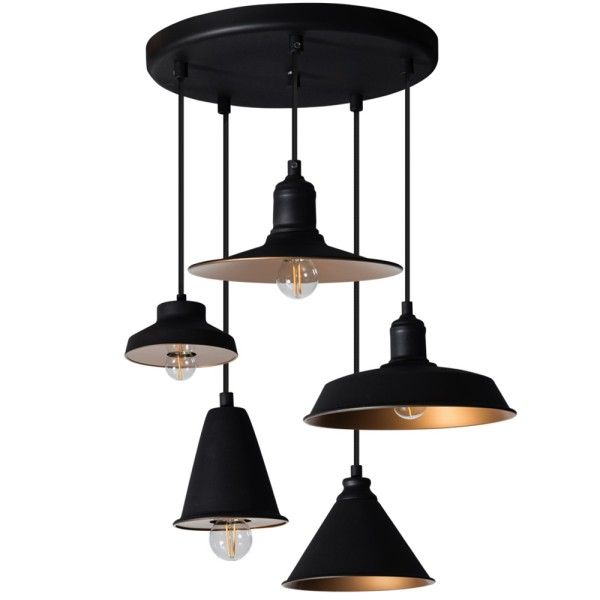 Vintage Hängelampe MIDNIGHT schwarz gold Hängeleuchte Lampe Pendelleuchte Metall
