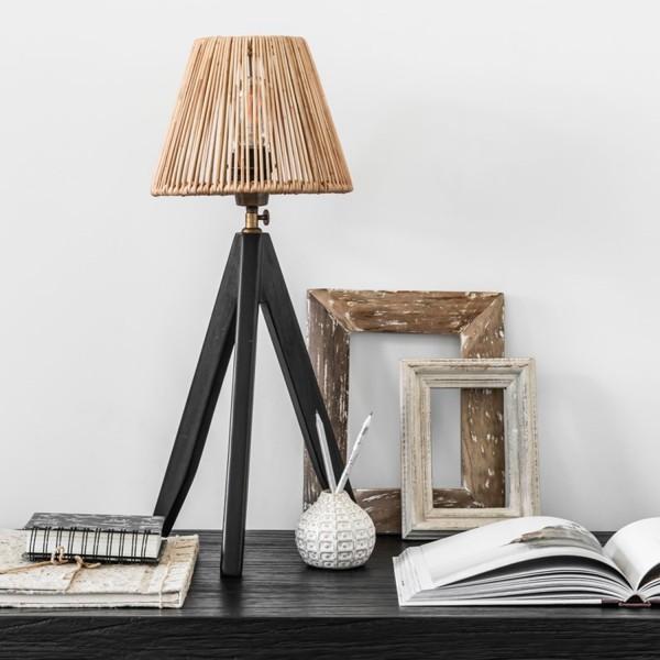 Tischlampe Montecristo 1 flmg H 48 cm Teakholz schwarz Rattan Tischleuchte