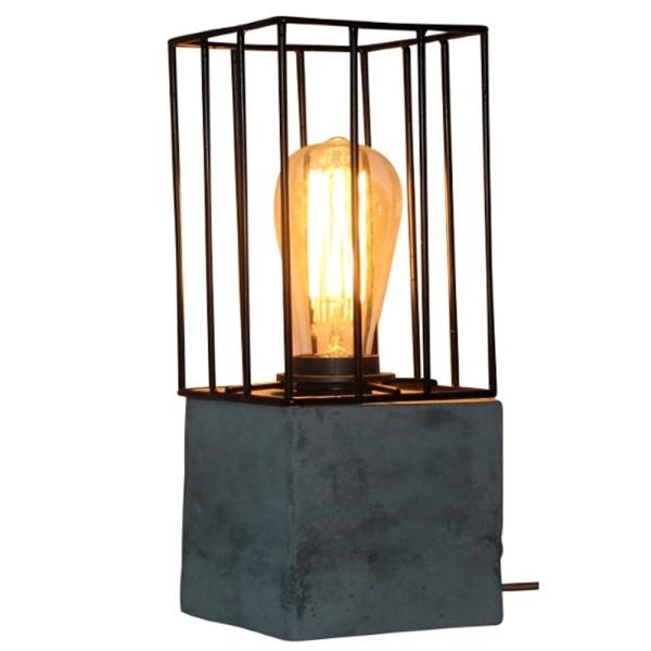 Tischlampe MADRID Quadrat Tisch Lampe Leuchte Tischleuchte Betonlook Metall