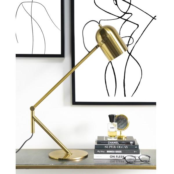 Tischlampe 1L SLEEK Metall goldfarben Tischleuchte Lampe Leuchte
