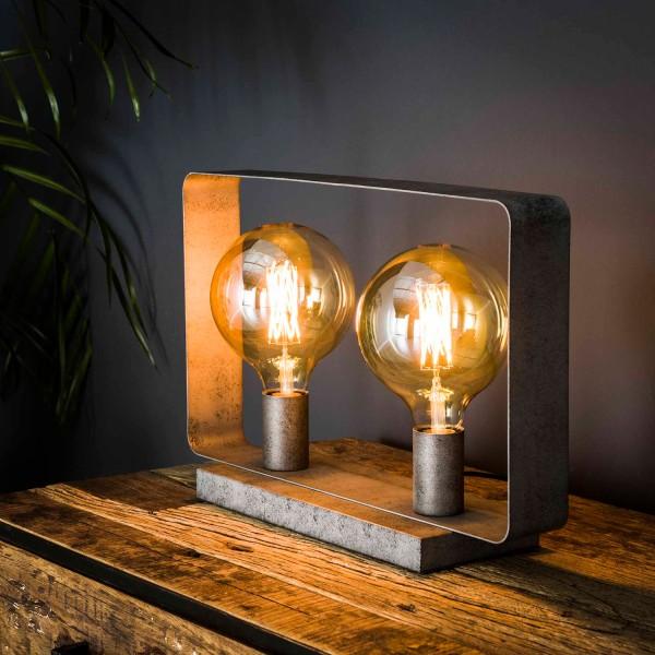 Tischlampe 2L STROP H 28 cm Metall altsilber Tischleuchte Lampe Leuchte