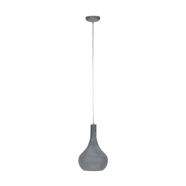 Hängelampe 1 x Ø 25 cm Kegel grau Lampe Metall Hängeleuchte Beton Optik
