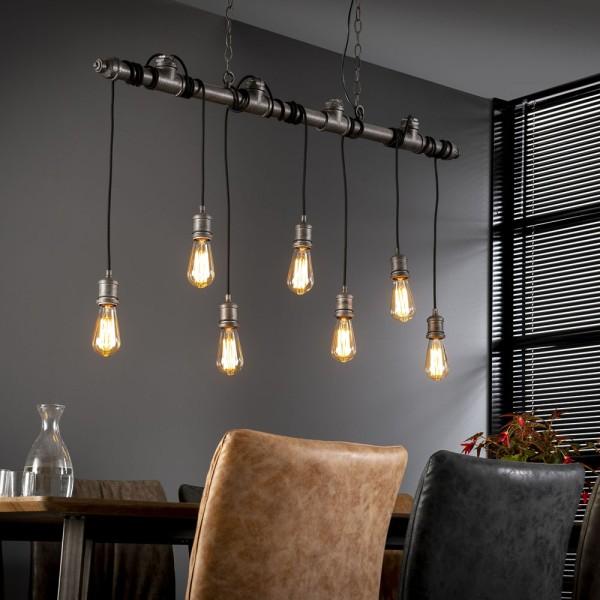 Hängelampe Industrie Rohr 7 Lampen 120 cm Wasserrohr Industrie Design