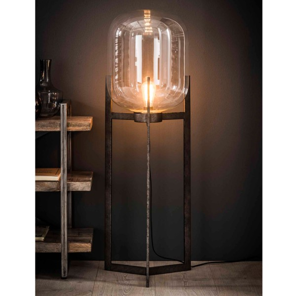Flurlampe Glaskuppel H 110 cm Metall silbergrau Standleuchte Stehlampe Lampe