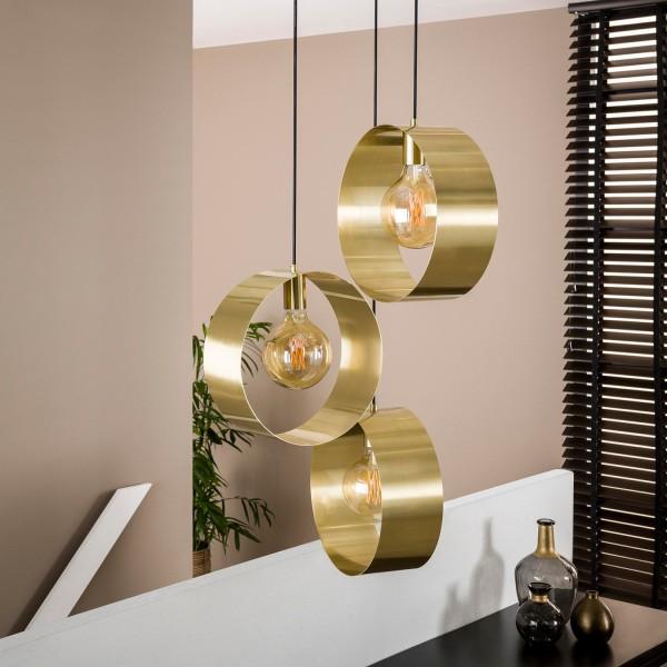 Hängelampe TULIP 3L stufig Metall goldfarben Lampe Deckenlampe Hängeleuchte