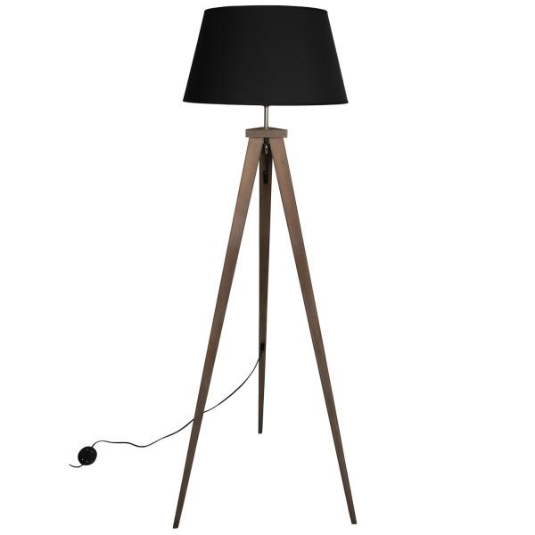 Flurlampe Omar 1L H 153 Bambus Schirm schwarz Standleuchte Stehlampe Lam