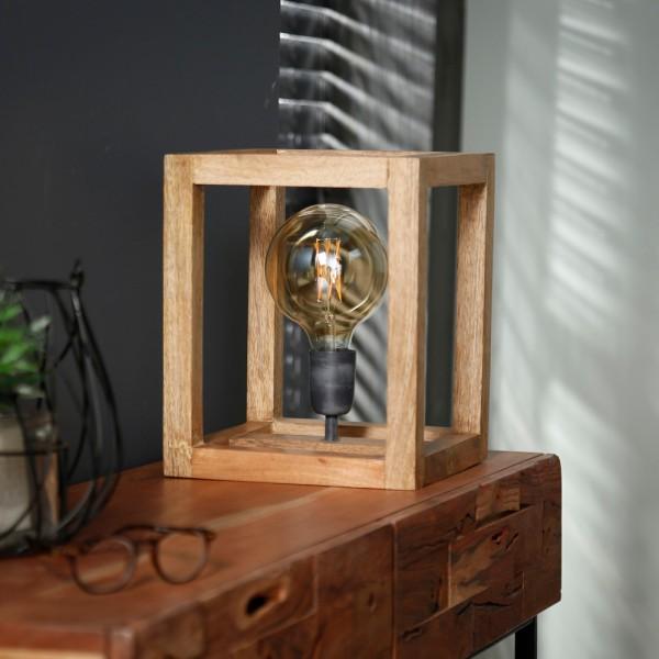Tischlampe Rechteckholzrahmen 25 x 25 cm Mango Massivholz Tischleuchte Lampe