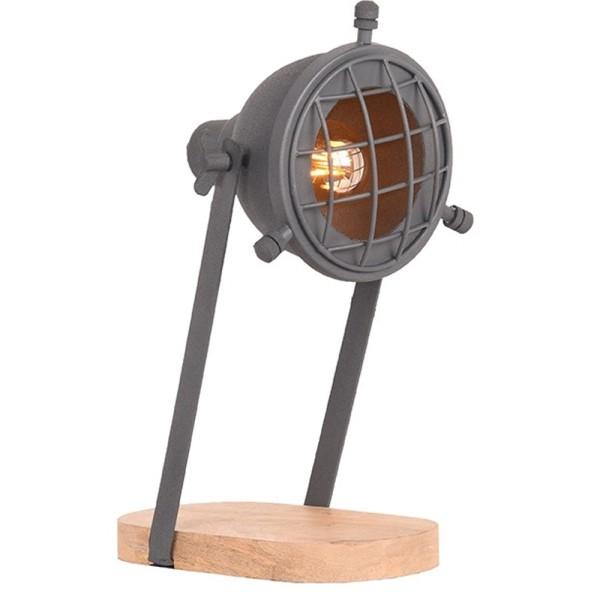 Tischlampe GRID Metall grau Holz Schreibtischlampe Lampe Leuchte Tischleuchte