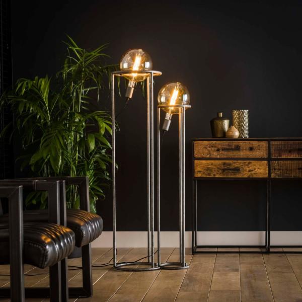 2er Stehlampe GIRONA 2 flmg H 120 cm Metall altsilber Standleuchte Leuchte Lampe