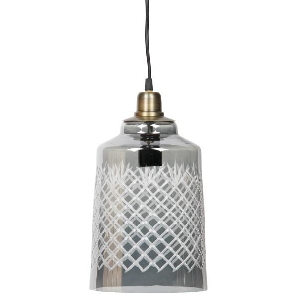 Hängelampe Engrave Ø 19 cm Glas grau Lampe Hängeleuchte Pendelleuchte